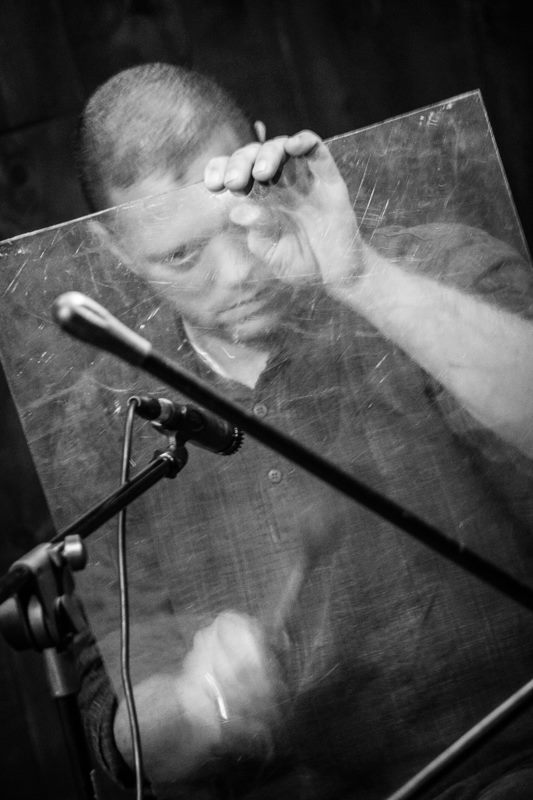 "Andrew Grueschow. Randy Gloss' ""Ayes Have It Vol. I"" CD release concert with Hands On'Semble, Pete Lockett and Houman Pourmehdi. Blue Whale, Los Angeles CA - 2015"