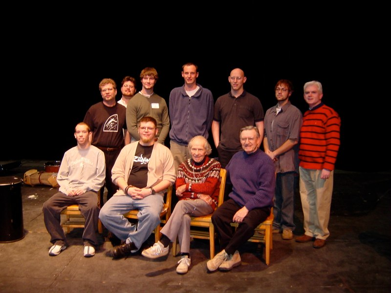 Hands On'Semble with Dave Mancini, Maestro Frederick Fennell, and Joe Caploe and family. University of Wisconsin, Platteville, 2003