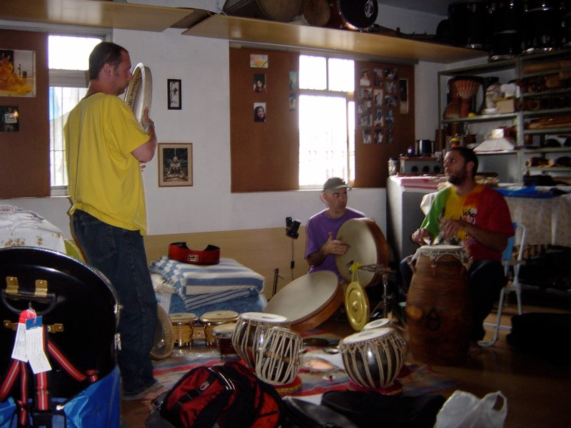 Randy and Andrew rehearsing with Carlos Stasi. Sao Paulo, Brazil, 2004