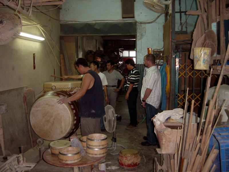 Randy visiting drum makers - Taiwan 2006