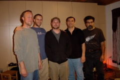 Austin, Andrew, Randy with Abbos Kosimov and Houman Pourmehdi recording Hand'Stan - Los Angeles 2005