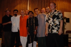 Hands On'Semble with Tabla Rasa. (left to right) Brad Dutz, Houman Pourmehdi, Jim Santi Owen, Randy Gloss, Uttam Chakrabarty, Tim Witter, Evan Fraser,