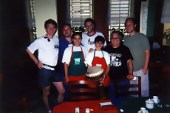 Hands On'Semble with Ted Piltzecker(left) and restaurant staff. Campinas, Brazil, 2000.